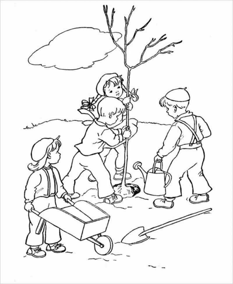 tranh vẽ bé tham giatrồng cây xanh cùng các bạn