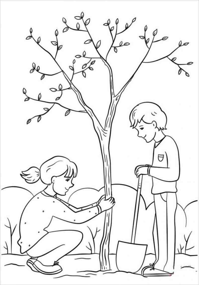 hình vẽ các bạn nhỏ trồng cây xanh trong vườn trường