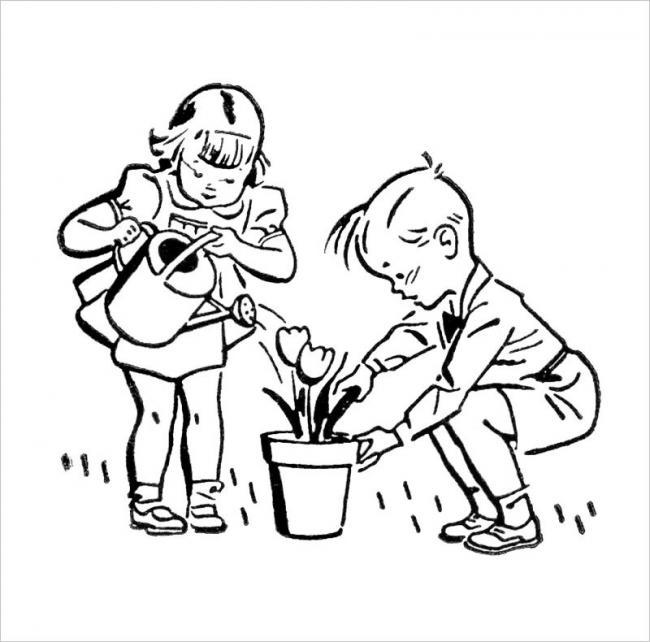 tranh tô màu béchăm sóc cho chậu hoa mới trồng