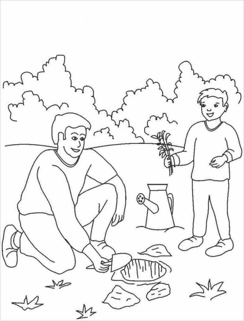 ảnh minh họa bé giúp ba trồng cây non trong vườn