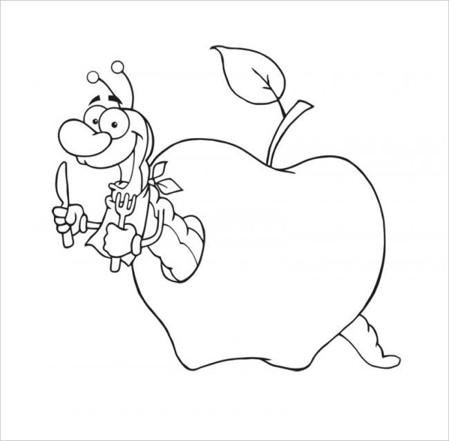 tranh tô màu quả táo sinh động với chú sâu tinh nghịch