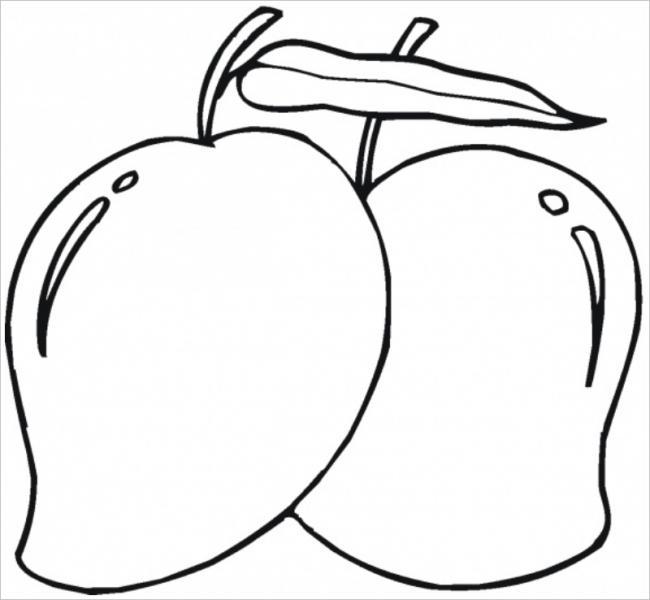 Tranh tô màu quả xoài viền đậm để bé không to lem màu ra ngoài