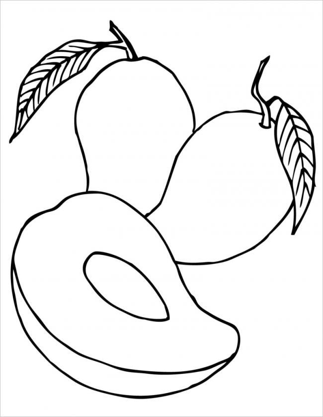 tranh tô màu quả xoài với lá màu xanh, hạt màu trắng, quả màu vàng