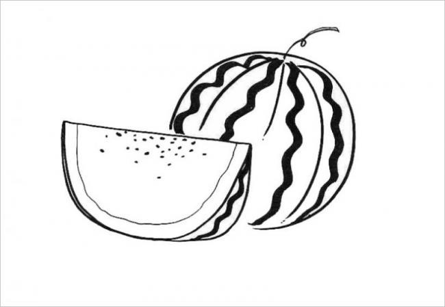 tranh tô màu quả dưa hấu có vỏ xanh và các sọc màu đậm dọc thân quả