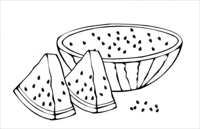 Tranh tô màu quả dưa hấu dùng các màu chủyếu: xanh, đỏ, đen nâu