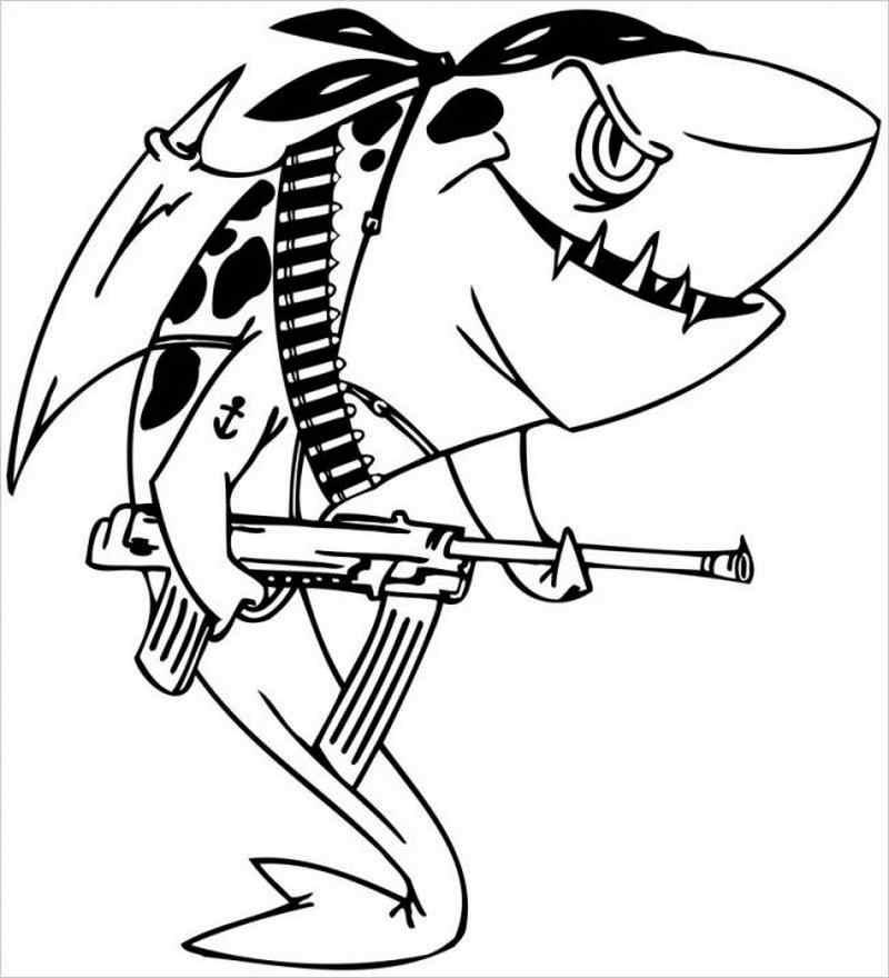 Cá mập biến thành chú lính với cây súng to dài
