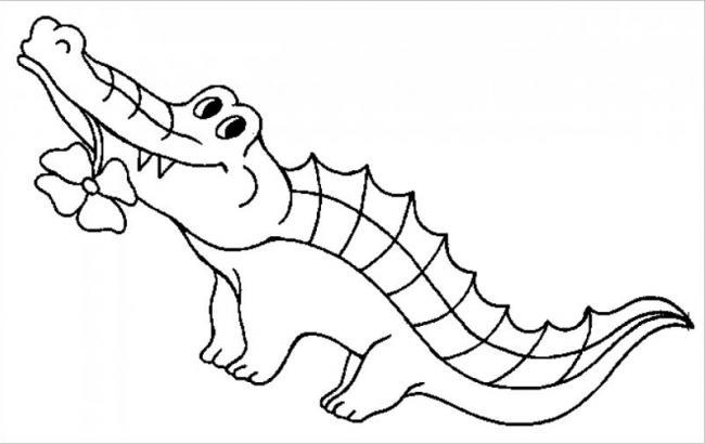 tranh tô màu cá sấu dễ thương
