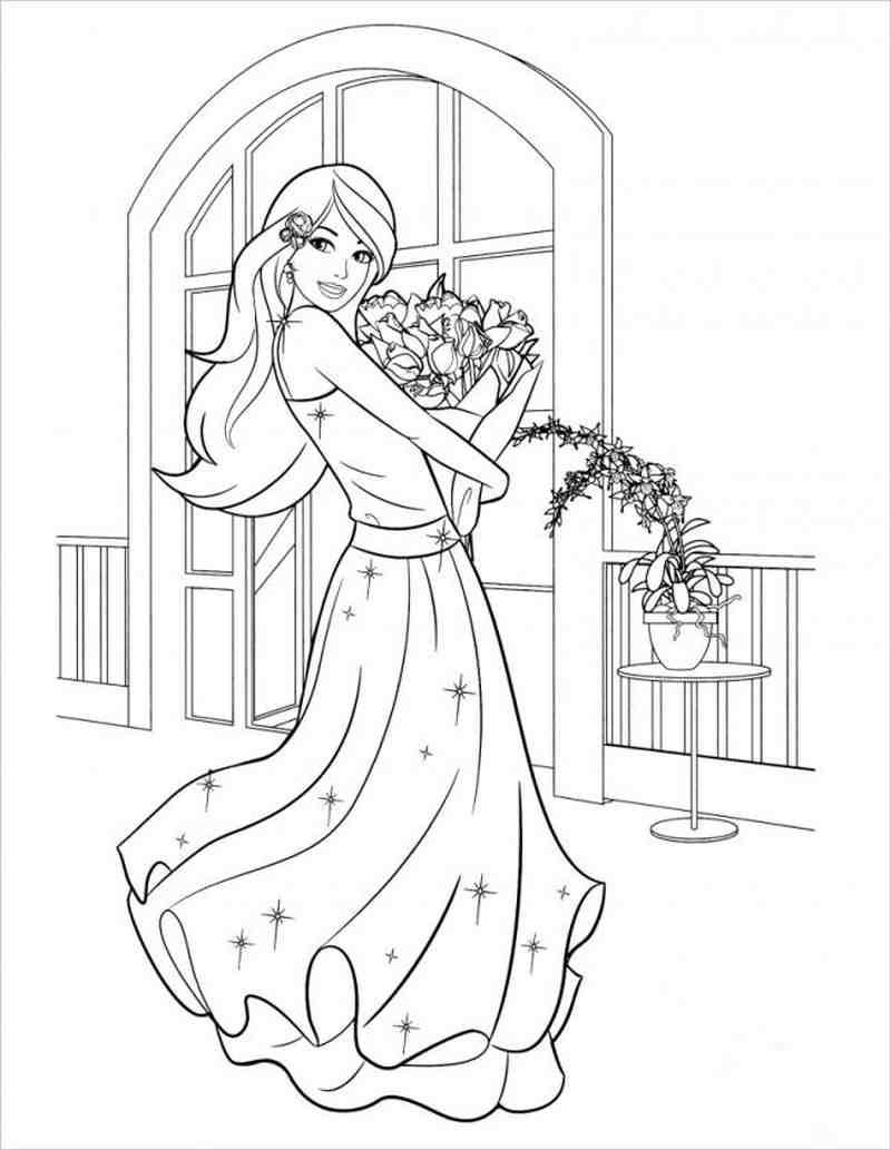 hình ảnh Barbie ôm hoa