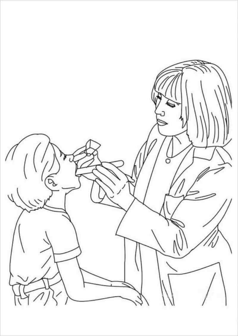 Tranh tô màu bác sĩ đang khám bệnh cho các con.