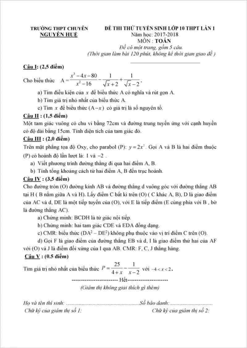 Đề thi thử vào lớp 10 trường THPT chuyên Nguyễn Huệ môn toán