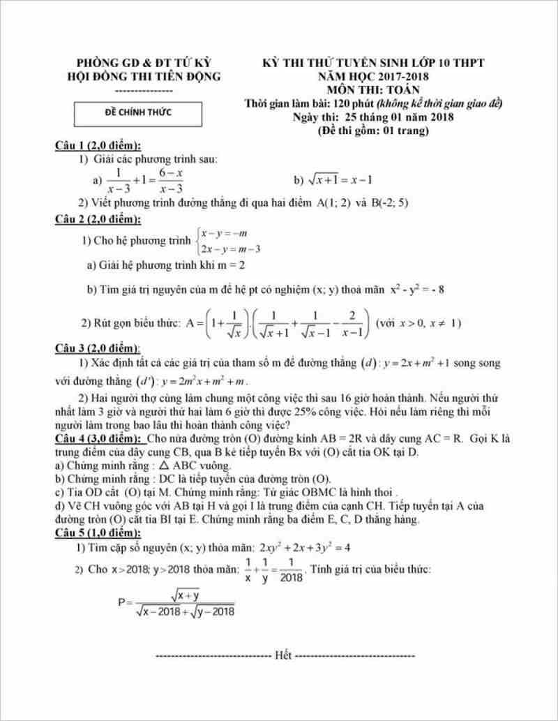 Tải đề thi thử vào lớp 10( có đáp án) môn Toán năm 2018 phòng GD&ĐT