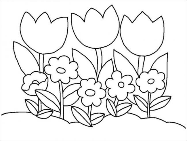 Hình ảnh khóm hoa tulip đơn giản dành cho trẻ nhỏ 3 tuổi
