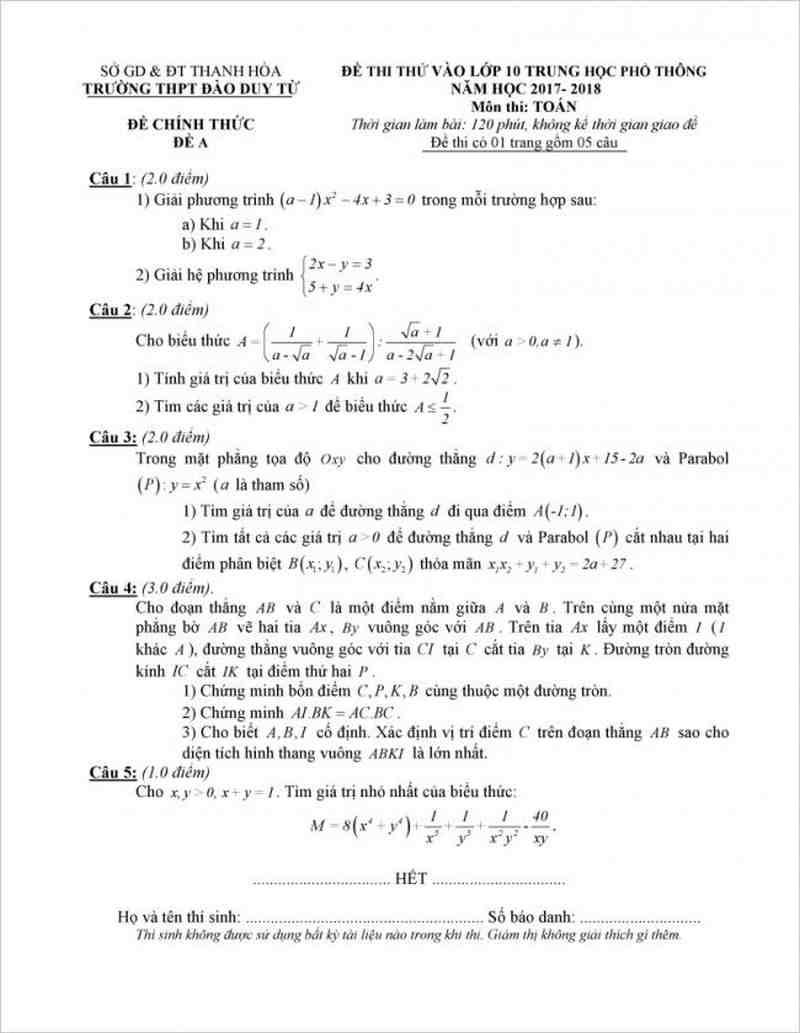 Đề thi thử - Đáp án môn toán lớp 10 trường THPT Đào Duy Từ