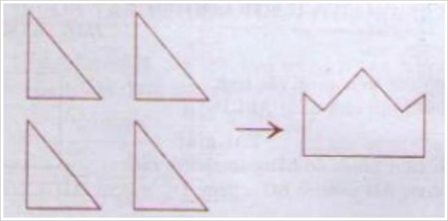 Giải bài tập toán lớp 3: Xếp 4 hình tam giác thành hình cái mũ
