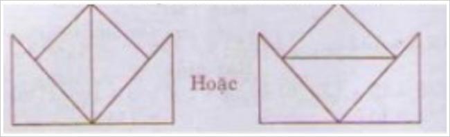 đáp án xếp 4 hình tam giác thành hình cái mũ