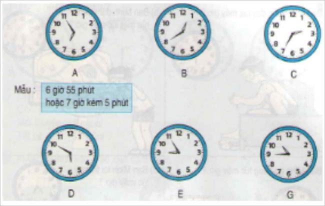 Giải bài tập toán lớp 3 phần bài tập xem đồng hồ (tiếp theo)