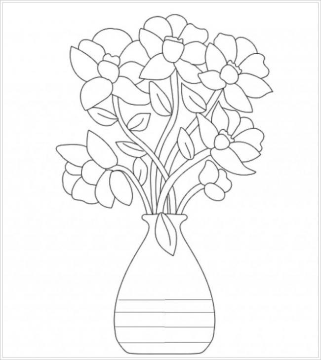 Hình lọ hoa cao có hình dáng đơn giản phù hợp với trẻ mọi lứa tuổi