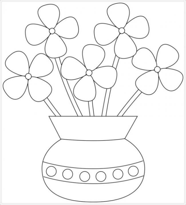 Hình ảnh lọ hoa 4 cánh đơn giản cho cả trẻ dưới 3 tuổi yêu màu sắc