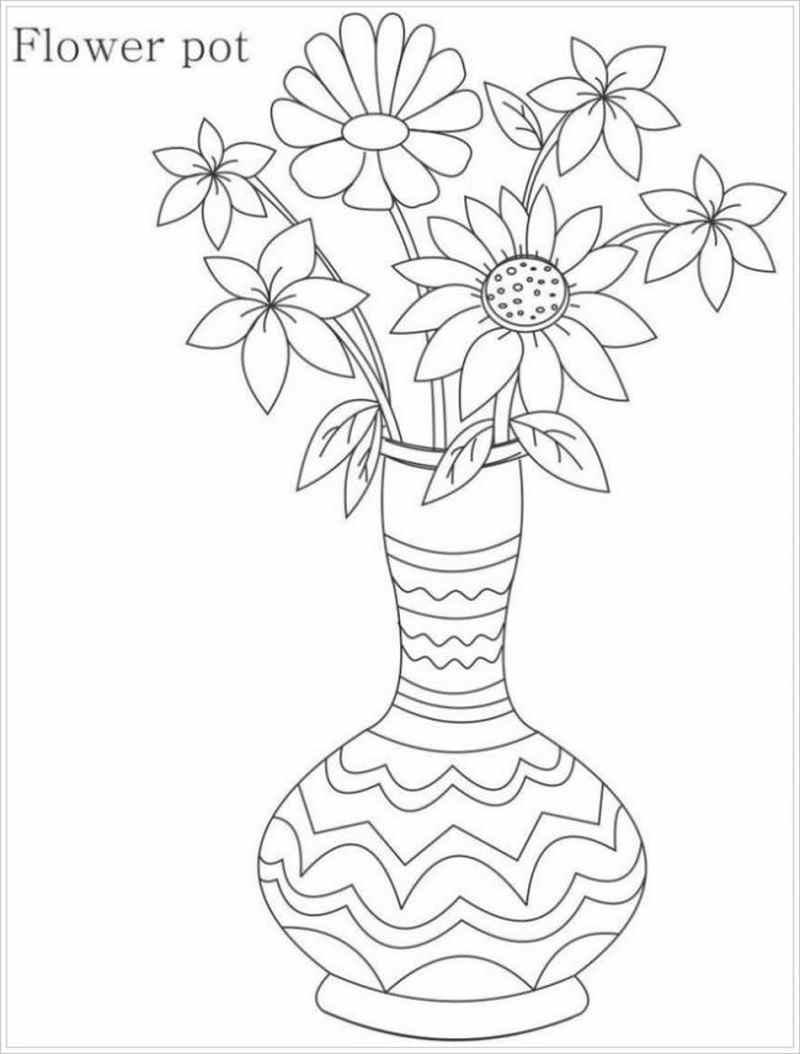 Tranh tô màu lọ hoa trang trí nhiều hoạ tiết nhí đáng yêu