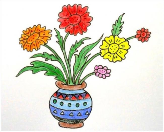 Mẫu tranh tô màu bình hoa của bé thật đáng yêu và sáng tạo