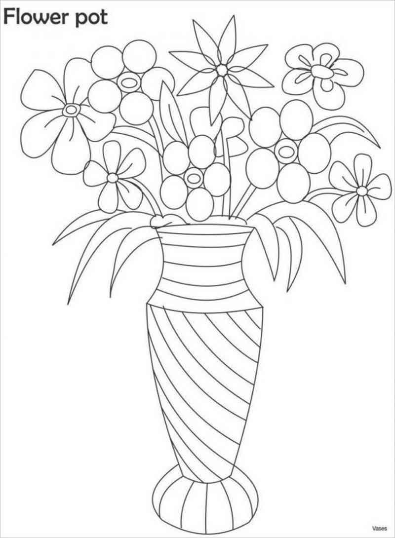 Một bình hoa đơn giản nhưng chắc bé sẽ cần bố mẹ cùng tô màu cho đẹp lung linh