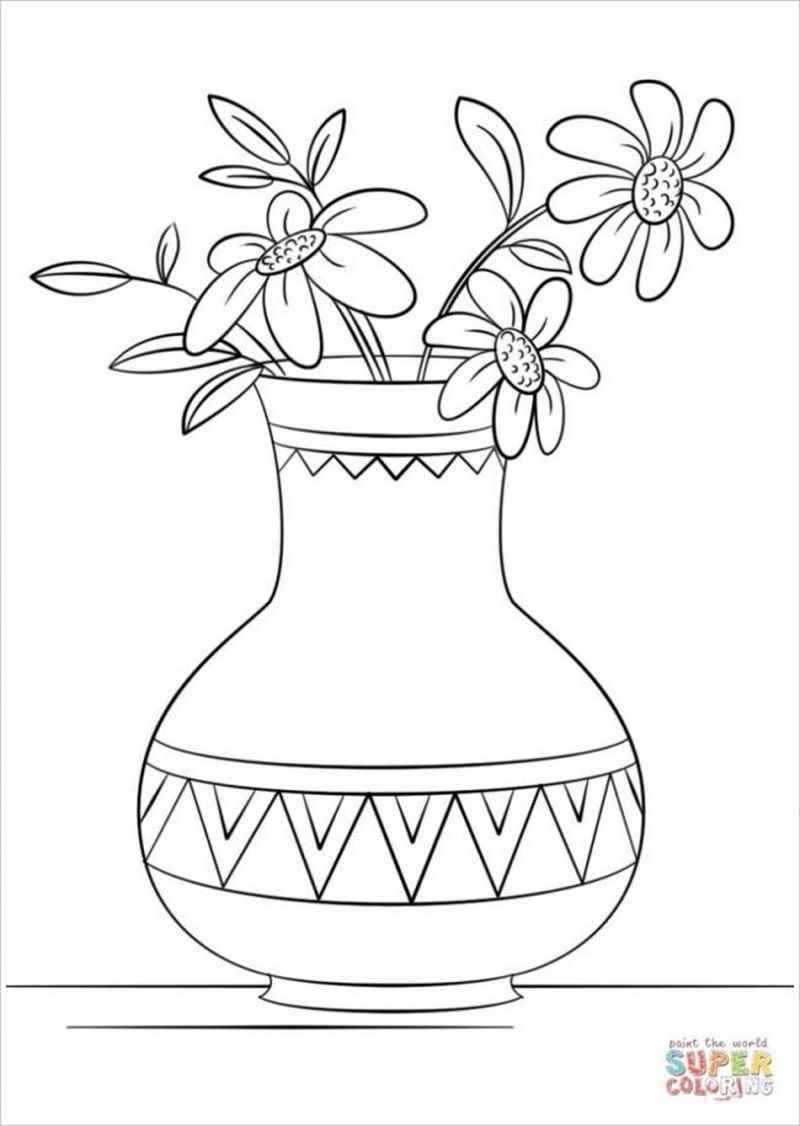 Tranh tô màu bình hoa với các hoạ tiết trang trí ziczac vintage