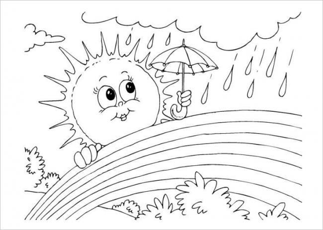Hình ảnh mặt trời, cơn mưa và cầu vồng