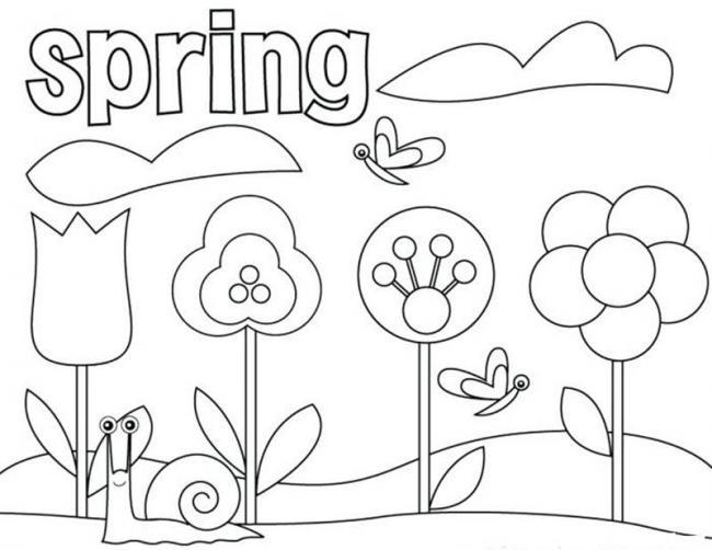 Tranh tô màu hoa mùa xuân đơn giản dành cho bé 3 tuổi hoặc dưới 3 tuổi
