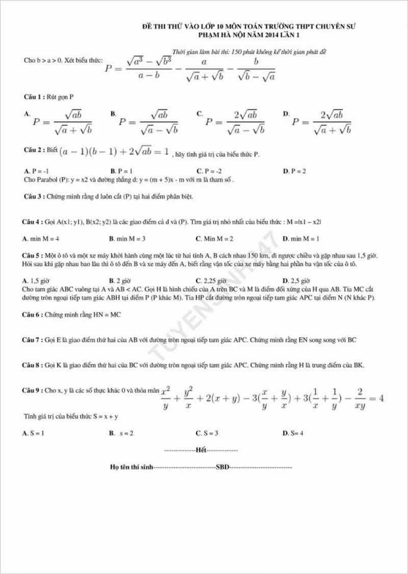 Đề thi thử môn toán vào lớp 10 THPT chuyên Sư Phạm Hà Nội