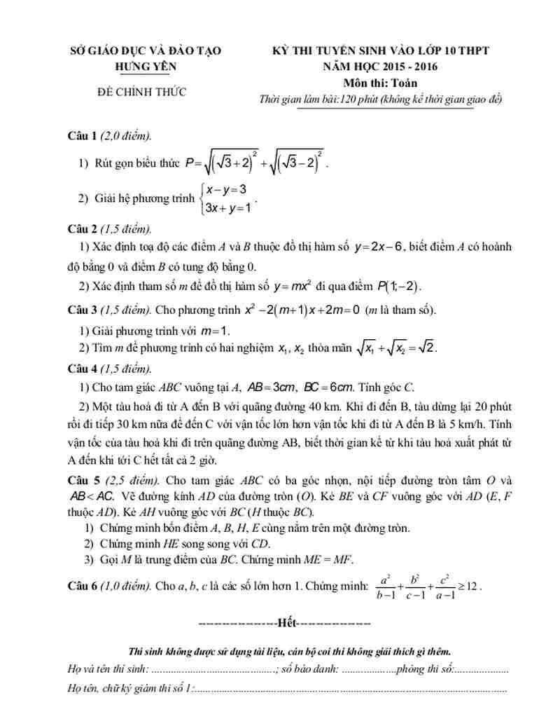 Đề thi vào lớp 10 môn toán sở GD&ĐT Hưng Yên năm 2015-2016