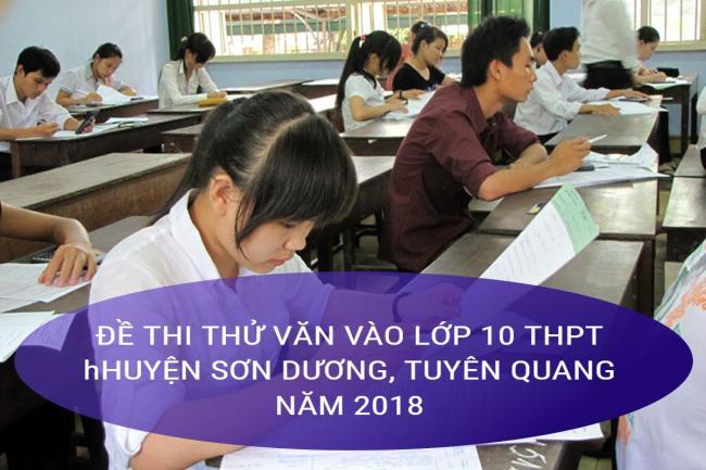 học sinh giải đề Văn thi thử vào lớp 10 THPT Sơn Dương năm 2018