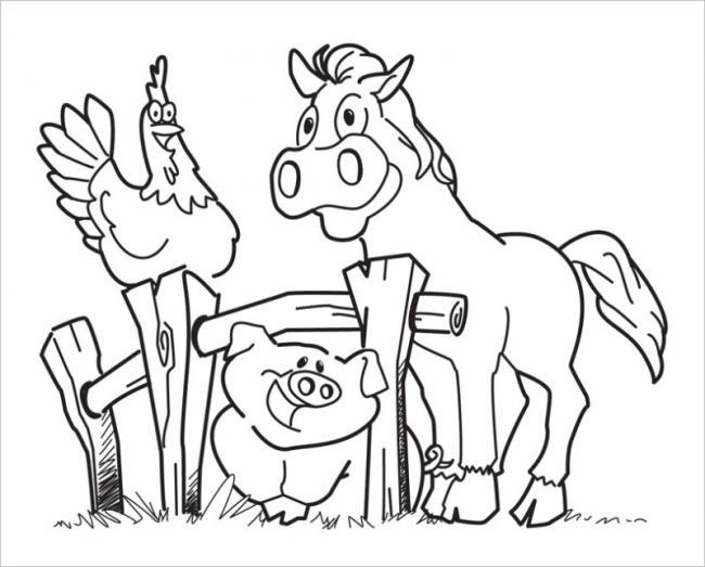Hình ảnh gà vui chơi bên lợn và ngựa