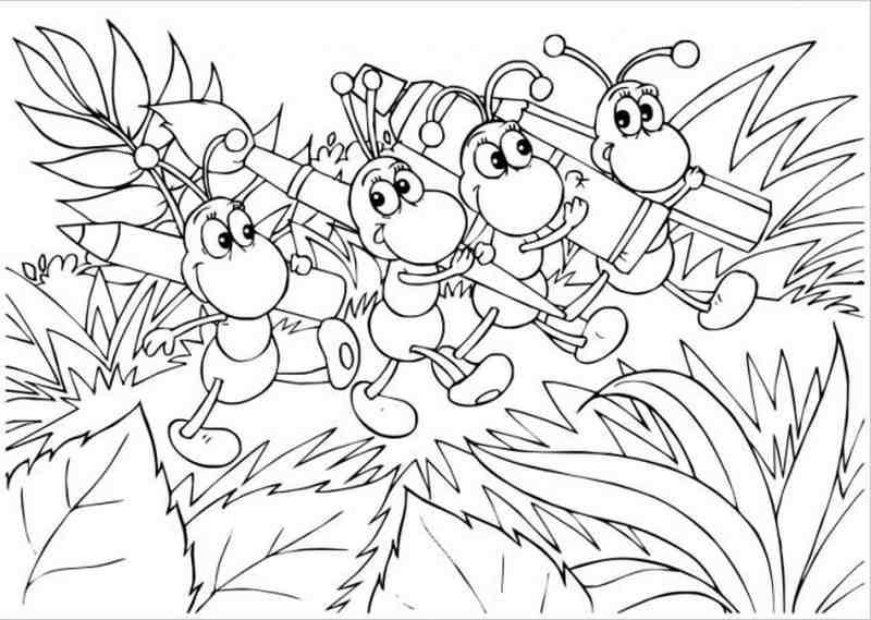 hình ảnh đàn kiến vác bút đi học vẽ