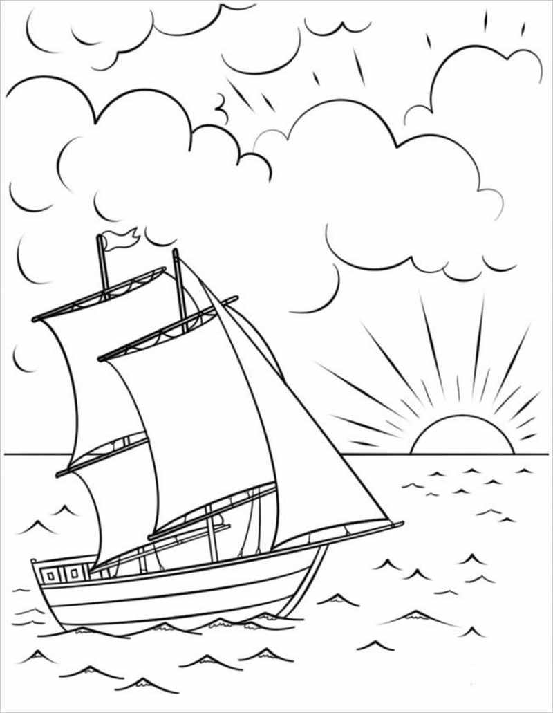 Chiếc thuyền oai hùng vượt sóng biển
