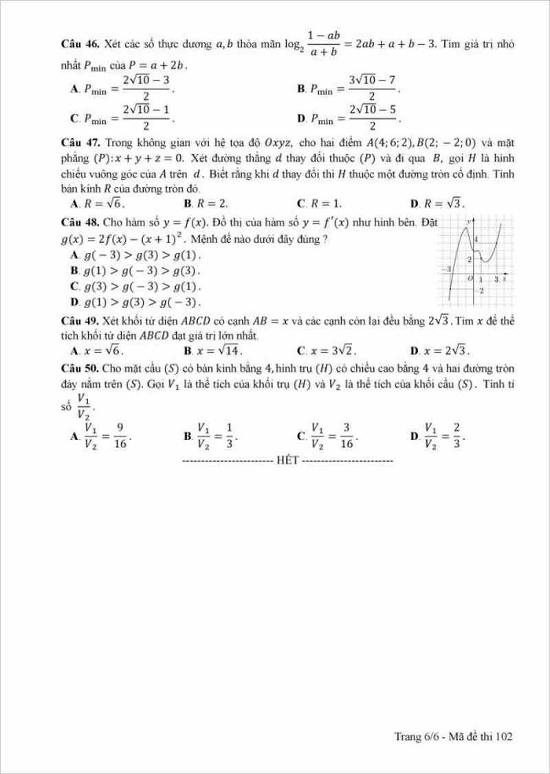 Đề thi chính thức THPT năm 2017 môn toán- mã đề 102