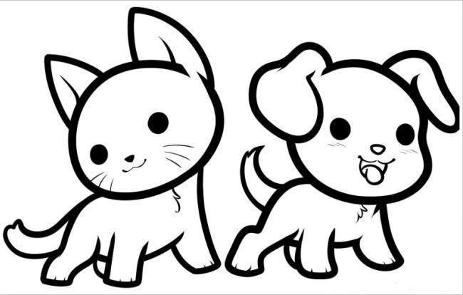 hình ảnh chó con và mèo con