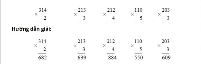 đề bài 1 trang 55 sgk toán lớp 3