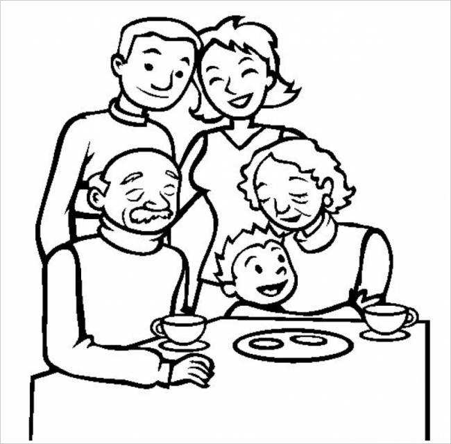 hình ảnh bé hạnh phúc bên ông bà và cha mẹ