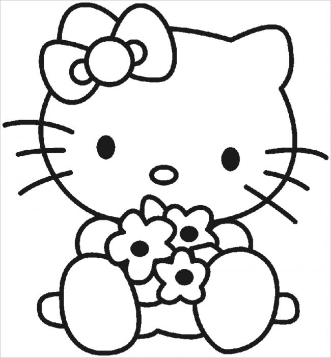 hình ảnh Hello Kitty ôm hoa