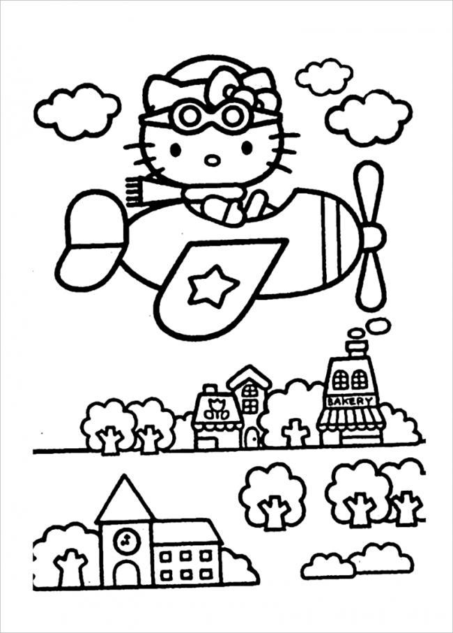 hình ảnh Hello Kitty lái máy bay