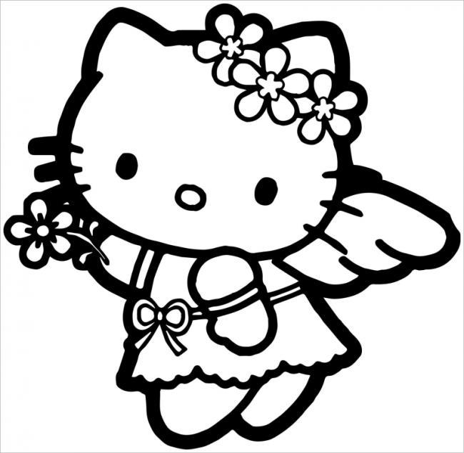 Hello Kittycài hoa lên đầu dễ thương