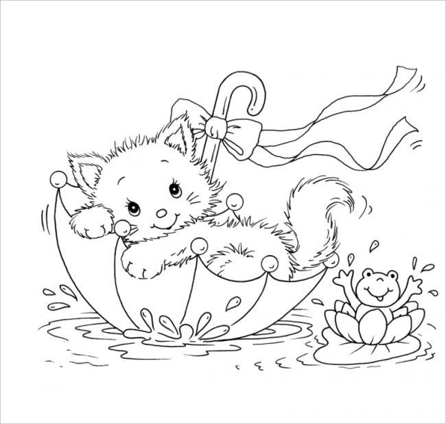 Mèo con nghịch ngợm với chiếc ô