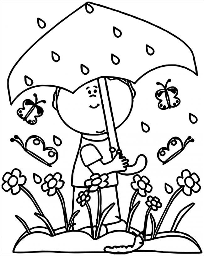 hình ảnh bé cầm ô dưới mưa