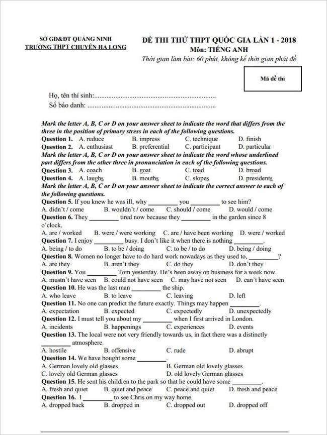 câu 1 - 16 trang 1 đề anh thi thử THPT chuyên Hạ Long 2018