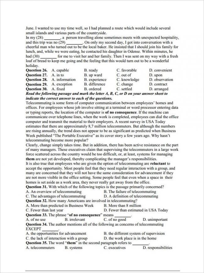 câu 26 - 35 trang 3 đề anh thi thử THPT chuyên Hạ Long 2018
