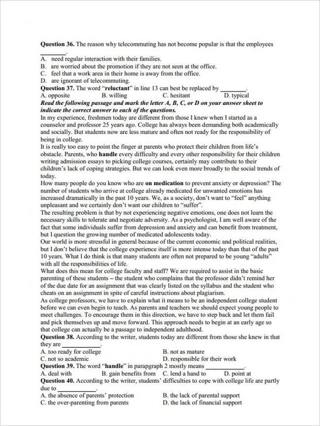 câu 36 - 40 trang 4 đề anh thi thử THPT chuyên Hạ Long 2018