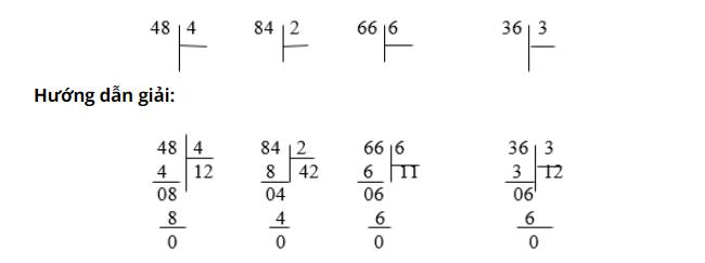 Giải bài tập toán lớp 3: Chia số có hai chữ số cho số có một chữ số bài 1