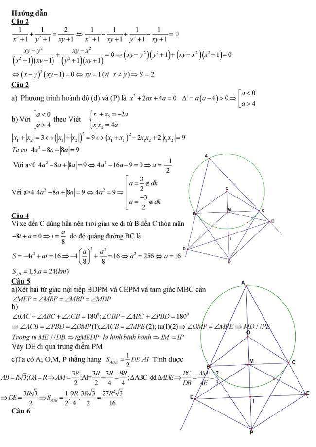 hướng dẫn đề toán chính thức vào lớp 10 trường đại học sư phạm Hà Nội 2017