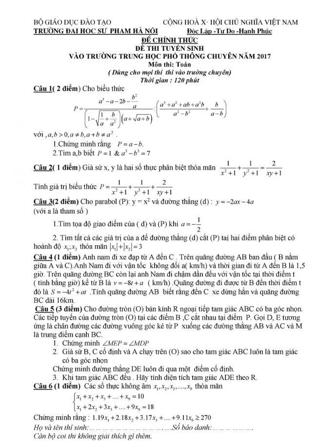 Mẫu đề toán chính thức vào lớp 10 trường đại học sư phạm Hà Nội 2017