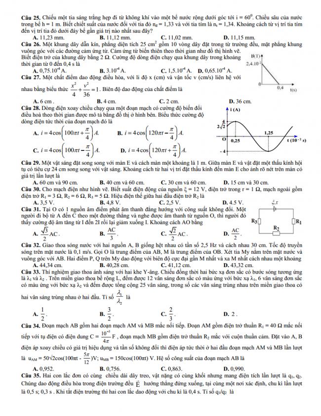 Đề thi thử môn vật lý trường trung học phổ thông Nam Trực Nam Định năm học 2018 - Lần thứ 2.